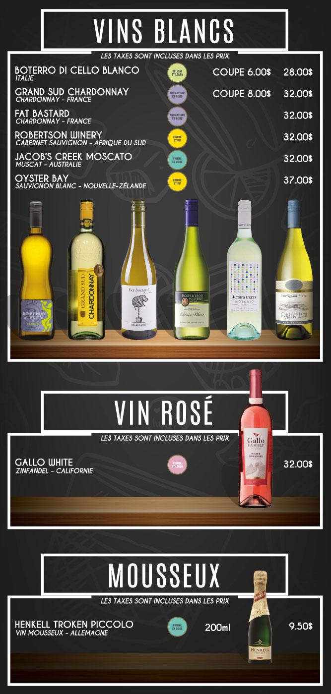 menu vins blancs Billard Heriot