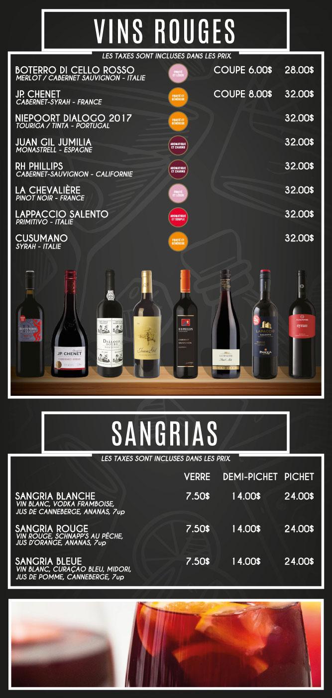 menu vins rouges Billard Heriot